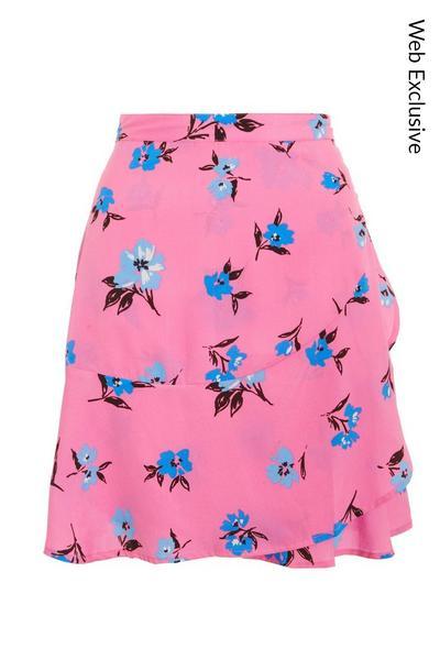 Pink & Blue Floral Mini Skirt